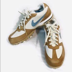 Nike SP-5 III white/Tan/Blue Leather Golf Shoe 9